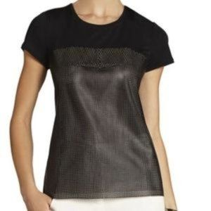 """BCBG """"Hudson Leather"""" Perforated Mesh Top sz S"""